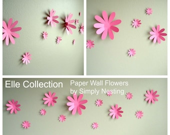 Paper Wall Flowers... Set of 13...Elle Collection...Choose your colors