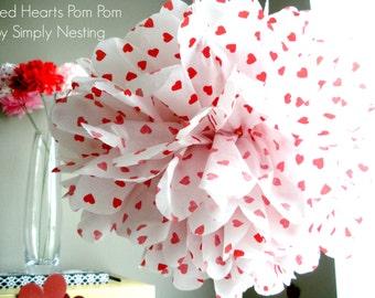 Valentines Day Tissue Paper Pom Pom, Red Heart Pom Pom, Valentines Day Decorations, Tissue Paper Flowers, Valentines Day Photo Shoot