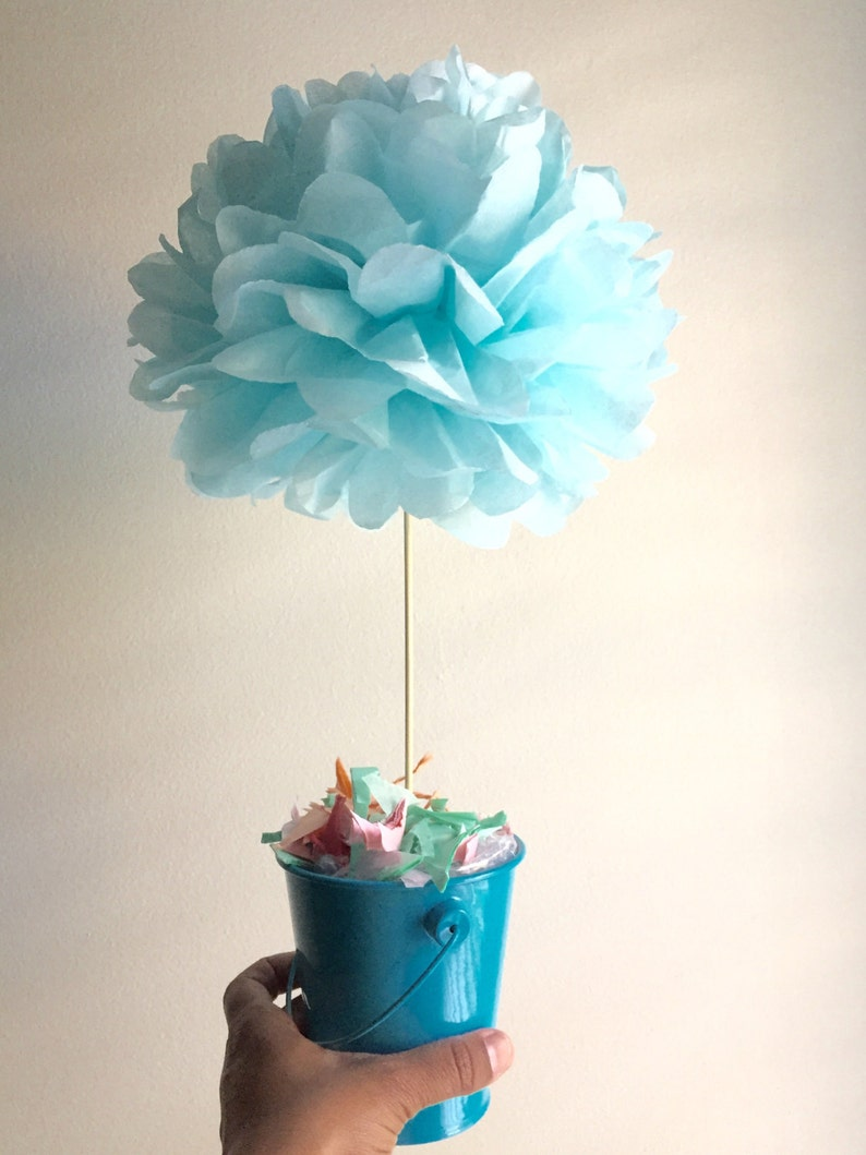 topiary pom pom choose your own color table centerpieces etsy rh etsy com  tissue paper pom poms table centerpieces