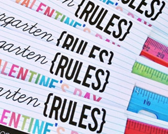 Kindergarten through 4th Grade Rules: Valentine's Day Ruler Card