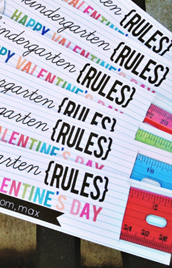 Kindergarten Through 4th Grade Rules Valentine S Day Ruler Card