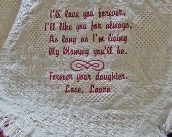 Personalized Mother's Day Gift - Mothers Day Gift - Gift for Mom From Daughter Gift - Cotton Throw - Embroidered Blanket for Mom