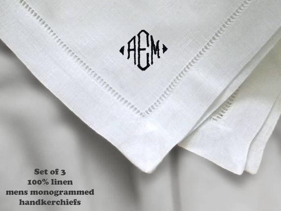 Mens Monogrammed Handkerchiefs Gift Set of Three Fine White Linen Men/'s Initialed Handkerchiefs Custom Made Pocket Squares