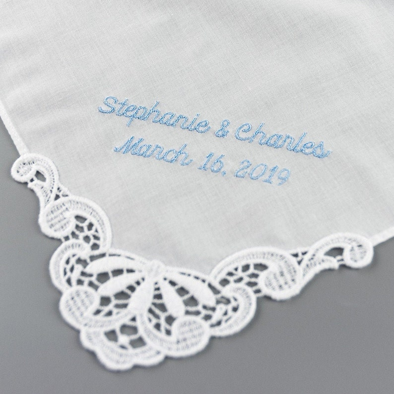 Personalized Wedding Handkerchief  Something Blue for Bride image 0