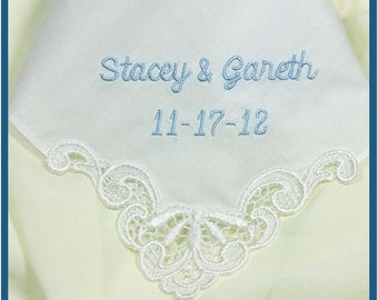 Personalized Wedding Favor - Wedding Handkerchief Bridal Hanky Hankie Custom Embroidered For Bride, Mother of the Bride, Bridesmaids