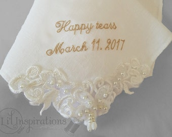 Ivory Wedding Handkerchief Embroidered Handkerchief   Bridal Handkerchief   Gift for Bride Wedding Hanky by Li'l Inspirations