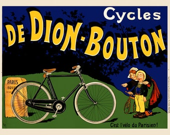De Dion-Bouton Bicycle Poster (#1010) 6 sizes