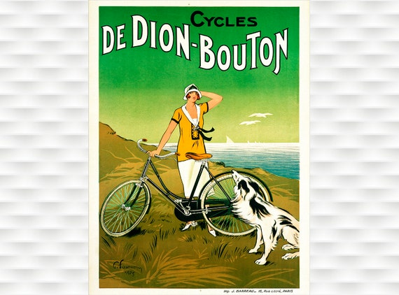 "De-Dion--Bouton-Cycles Cycle Bike Art on Canvas 24/""x36/"" Vintage Bicycle"