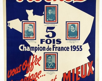 Rochet 5 Time Champion Vintage Bicycle Poster