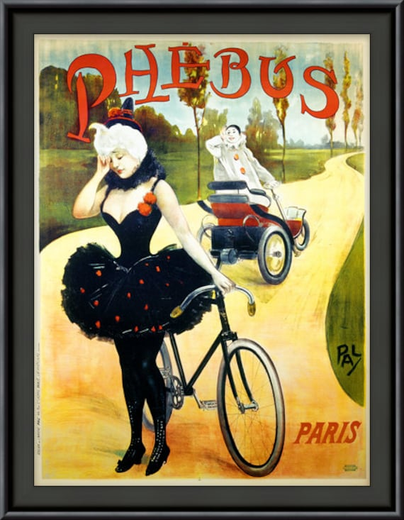 Vintage French Peugeot Cycles Paris Bicycle Advertisement Poster Art Print A4