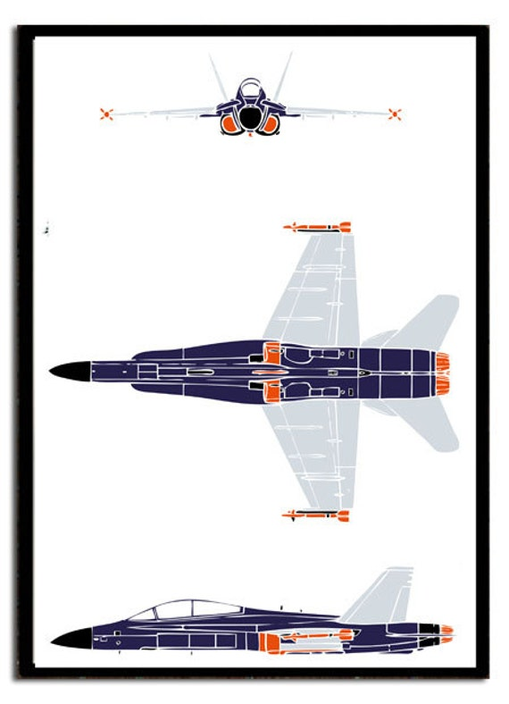 Boys Poster Print of a Modern Plane - F18 Hornet Jet Fighter Airplane -  Elevation Plan of an Air Force Jet Plane
