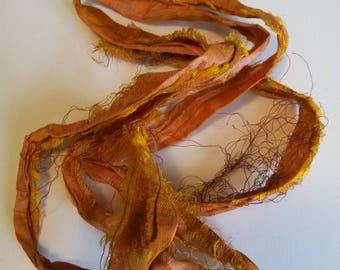 Fall orange, yellow sari Silk Ribbon, pink, 93cm