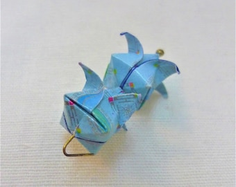 set 2 painted sky blue origami flowers ready to use