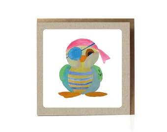Pirate Greeting Card /  Bird Pirate Greeting Card / Kids Card / Funny Cards / Boys Card / Pirates / Illustration / Funny Card / Cute Card