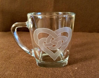Celtic Love Knot Coffee Mug/Hand Etched