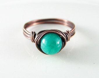 Wire Wrapped Ring Turquoise Ring Quartzite Copper Ring Wire Wrapped Jewelry Blue Quartzite Ring Copper Jewelry
