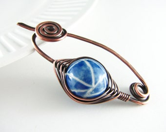 Shawl Pin Wire Wrap Jewelry Copper Jewelry Scarf Pin Sweater Pin Fibula Wire Wrapped Brooch Blue Brooch Copper Wire Wrap