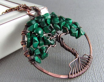 Wire Wrapped Pendant Tree Of Life Necklace Wire Wrapped Jewelry Malachite Necklace Copper Jewelry Copper Necklace Tree Of Life Pendant