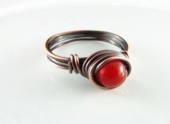 Echte Karneol Draht umwickelt Kupfer Ring Orange Stein kleines   Etsy