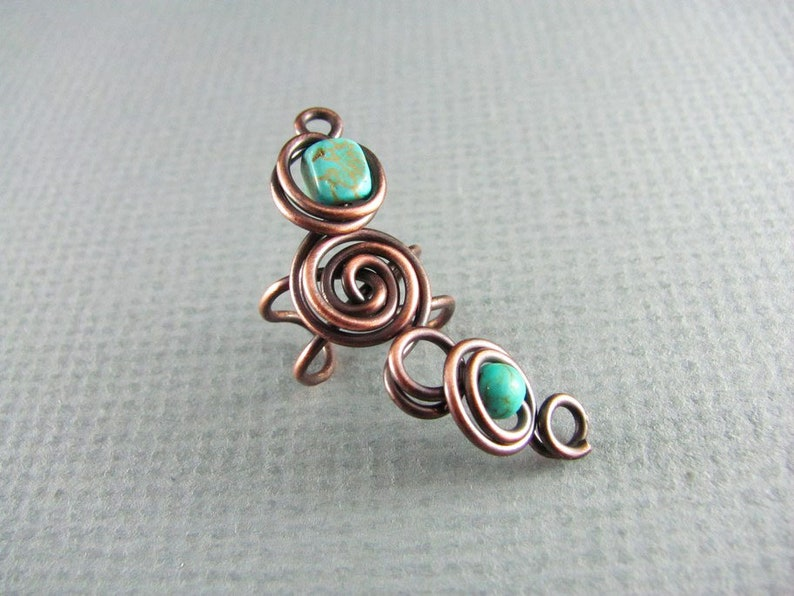 Wire Wrapped Jewelry Copper Ear Cuff Handmade Natural Turquoise Earrings Free Shipping Cosplay Wire Wrap Ear Cuff