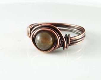 Wire Wrapped Ring Fancy Jasper Ring Copper Ring Wire Wrapped Jewelry Green Jasper Ring Copper Jewelry Copper Wire Wrap