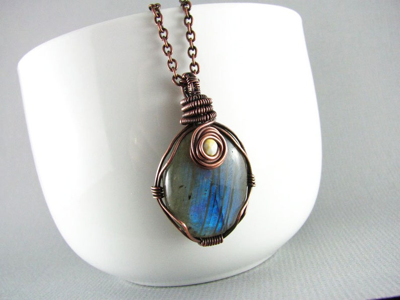 Labradorite Necklace Copper Wire Wrapped Jewelry Handmade Etsy