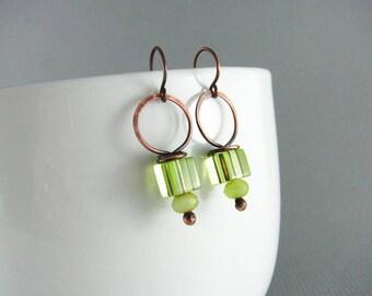 Copper Earrings Wire Wrap Earrings Hoop Earrings Copper Jewelry Peridot Earrings Wire Wrapped Jewelry