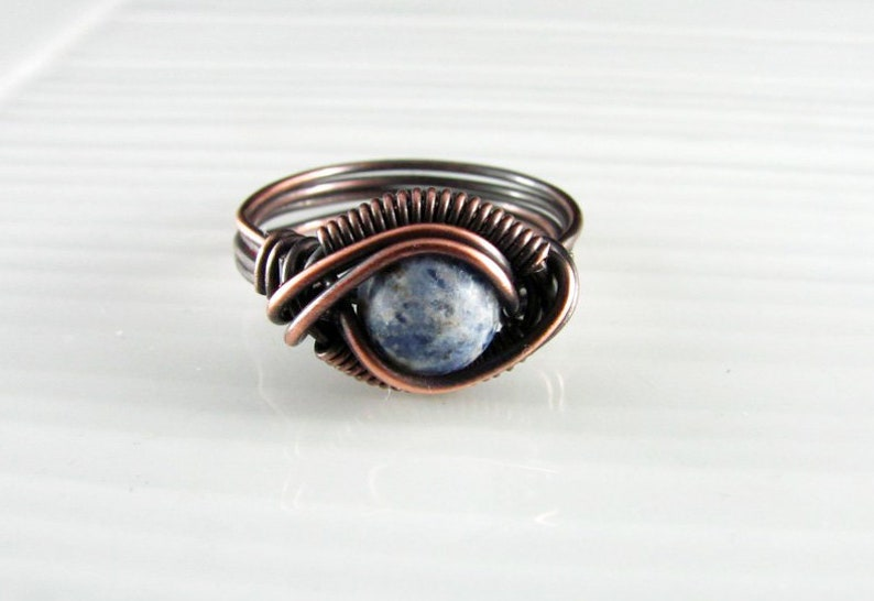 Wire Wrap Ring Dragon S Eye Handmade Copper Ring Wire Etsy