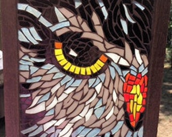 Contemporary Stained Glass Mosaic Panel - Owl (PLG135)