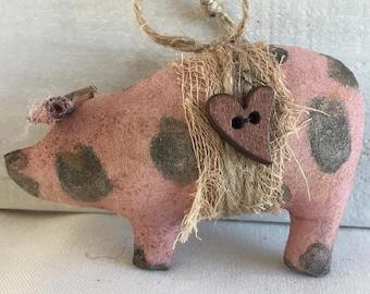 primitive home decor - primitive Christmas ornaments - primitive pig ornaments - holiday decor - farmhouse Christmas - rustic Christmas