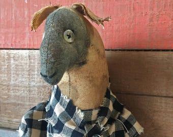 primitive sheep doll - primitive folk art sheep - primitive doll - wall art - country primitive - primitive farm animals - primitive sheep