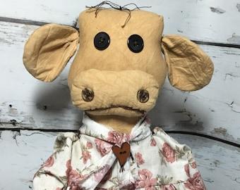 primitive folk art cow doll - handmade primitive cow - kitchen cow decor - farmhouse decor - primitives - primitive folk art - cottage decor