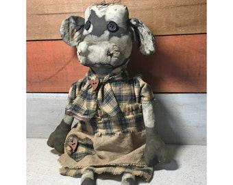 primitive holstein cow doll - black and white cow - primitive folk art cow - kitchen cow decor - country primitive cow - farm cow primitive