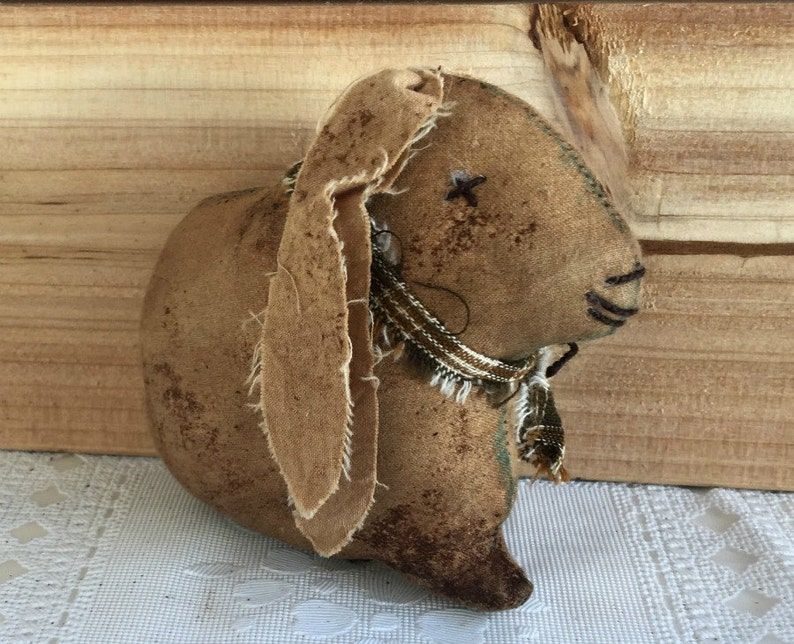 Small Brown Lop Rabbit Bowl Filler / Primitive Lop Bunny Decor image 0