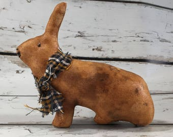 primitive rabbit - country primitive decor - extreme primitive rabbit - primitive bunny - farm decor - rabbit decor - farmhouse decor - hare