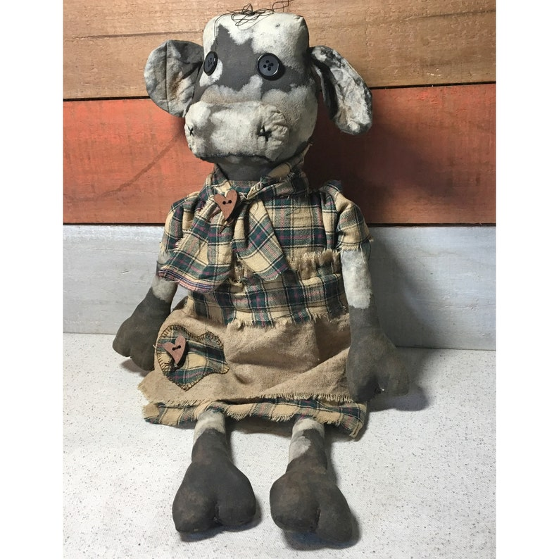 Primitive Black and White Holstein Cow Doll / Cow Decor / image 0