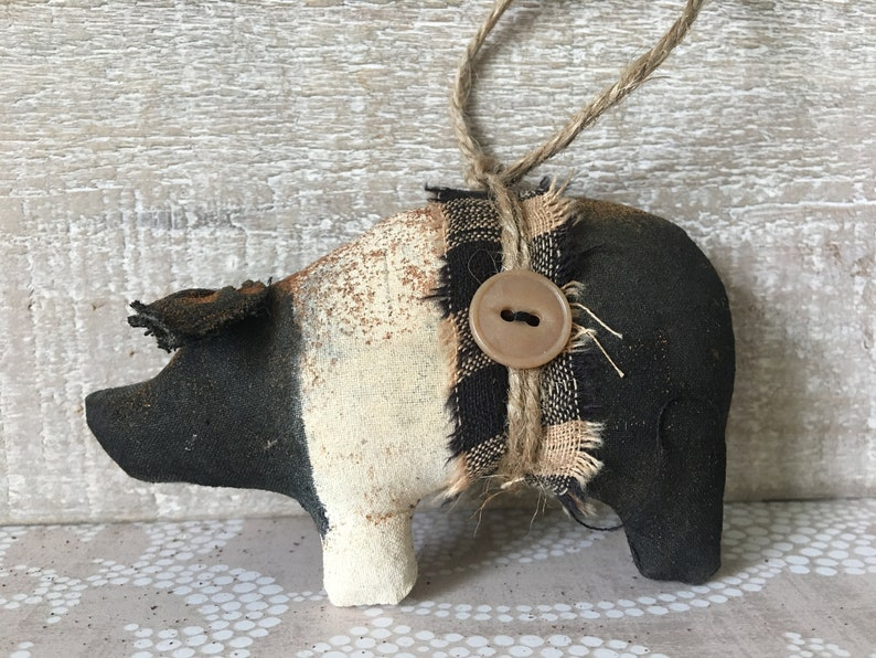 Black and Tan Primitive Pig Ornaments / Hampshire Pig Ornament image 0