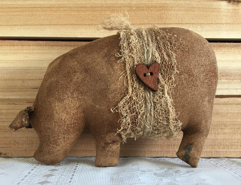 Brown Grunged Pot Bellied Pig Bowl Filler / Pot Belly Hog / image 0