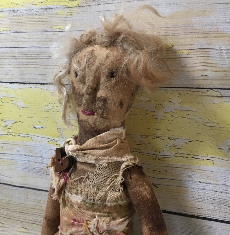 Small Grunged Ragamuffin Rag Doll / Primitive Cloth Doll image 0