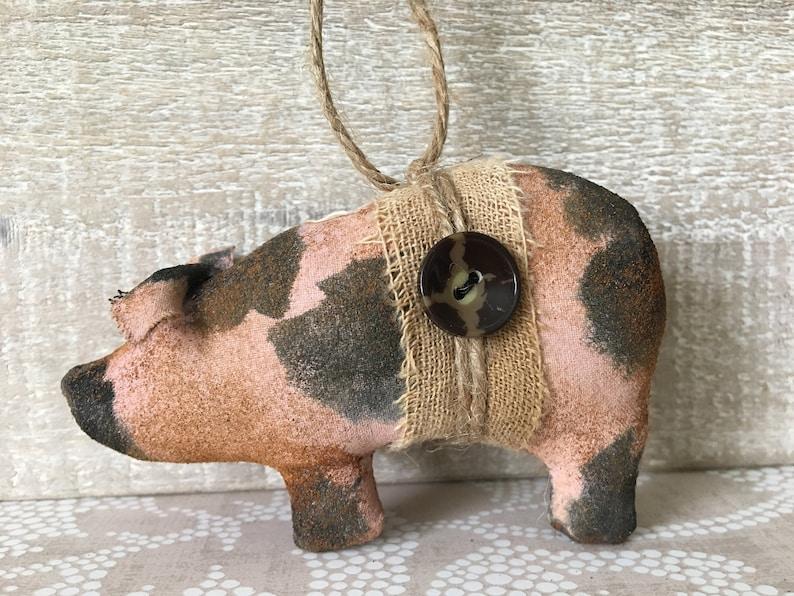 Pink Spotted Pig Ornament or Bowl Filler / Pig Decor image 0