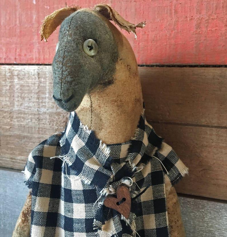 Front Facing Primitive Sheep Doll with Homespun Dress / image 0