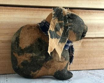 primitive spotted lop eared rabbit -  primitive lop eared bunny - primitive country decor - rabbit bowl filers - country primitive decor