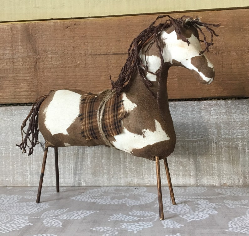 Brown and White Paint Primitive Horse / Spotted Horse / Horse image 0