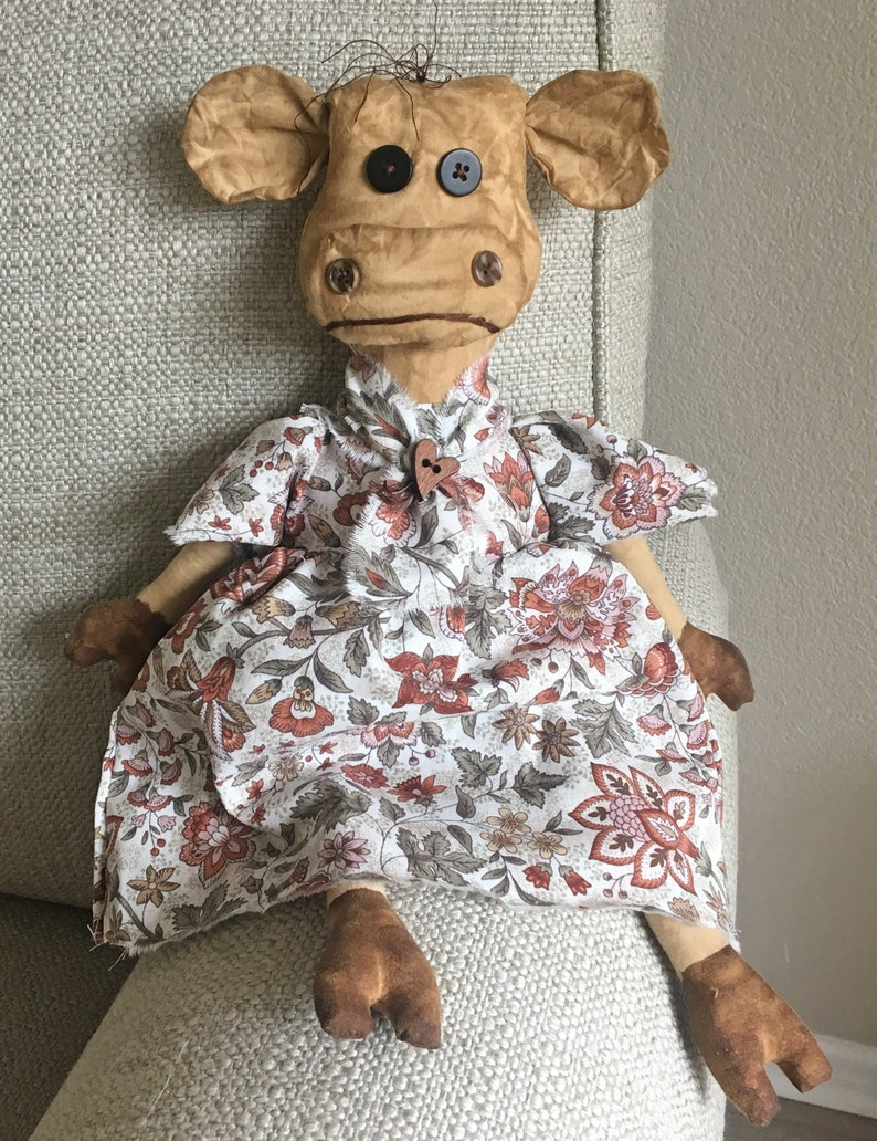 Clean Brown Cow Doll with No Grunge / Primitive Dolls / Cow image 0