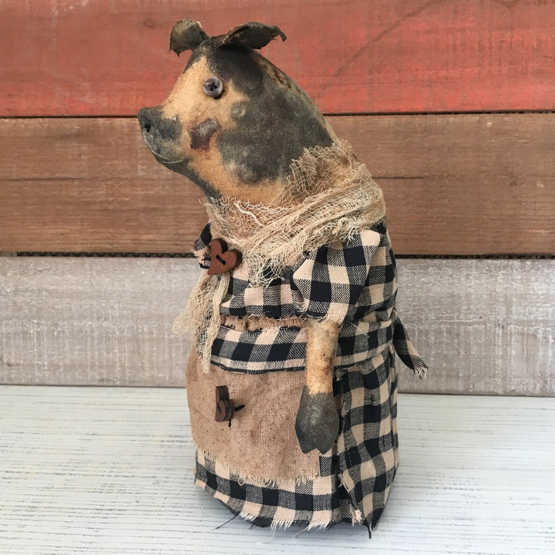 Primitive Spotted Pig Stump Doll / Pig Decor image 0