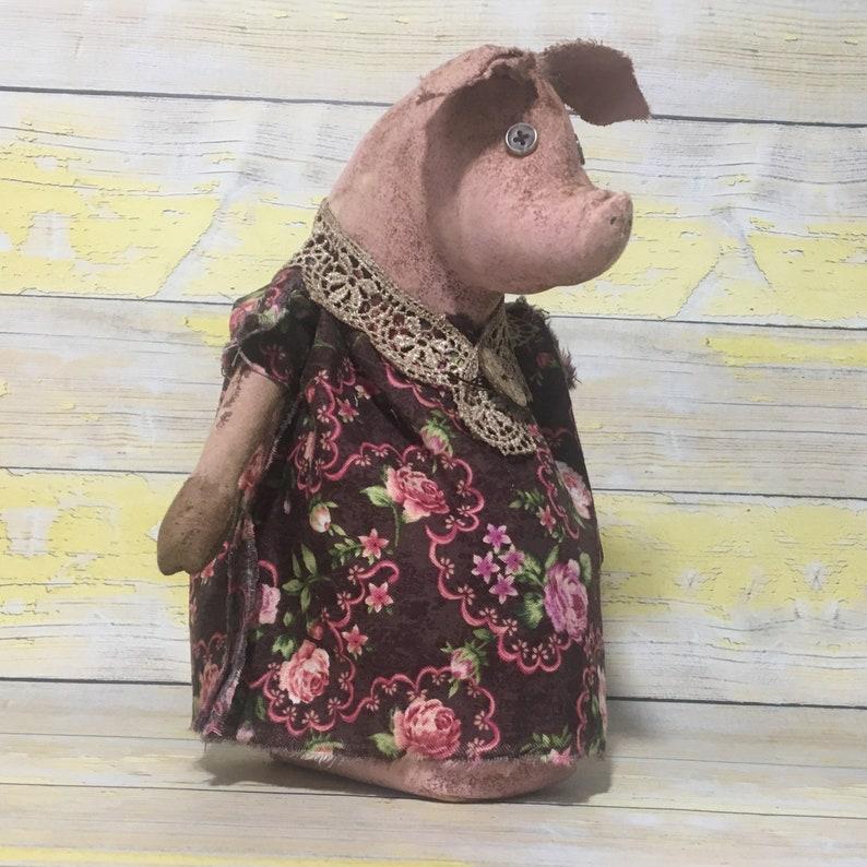 Grunged Pink Pig Stump Doll /  Pig Decor image 0