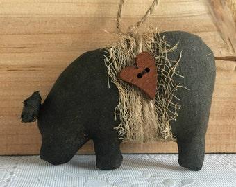 pig ornament - primitive ornaments - primitive country decor - potbelly pig decor - farmhouse decor - prim pig - country primitive decor