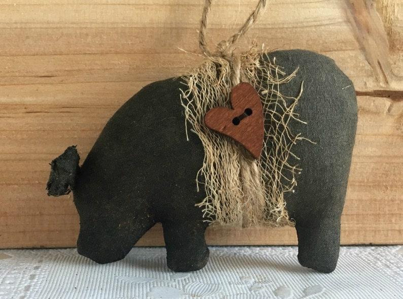 Plain Black Pot Bellied Pig Christmas Ornament / Primitive Pig image 0