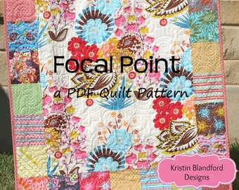 PDF Quilt Pattern, Charm Pack, Panel Fabric, Focal Point, Beginner Quick Easy Simple Fast Fun Instructions Modern Design Charm Pack