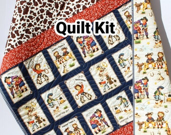 Ranch Rodeo Baby Quilt Kit, Panel Quick Easy Beginner Sewing Project Western Roundup Boy Nursery Bedding Decor Make Yourself DIY Quilting